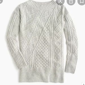 J. Crew Patchwork Cable Knit Oversized Sweater